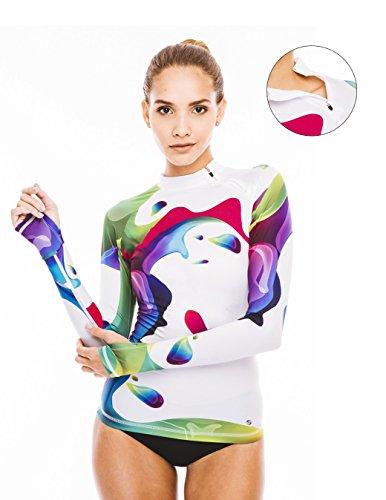Platinum Sun long sleeve swim shirts women designer top Rainbow rash guard XXL