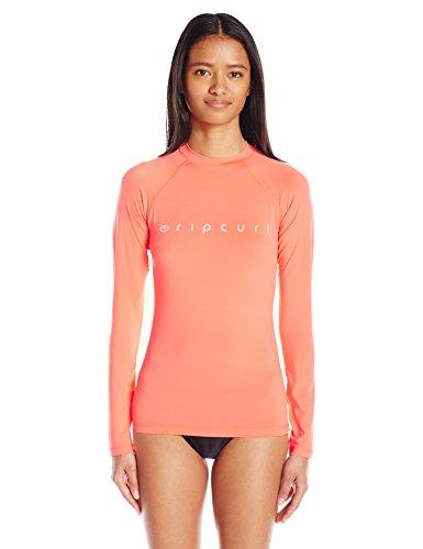 Rip Curl Womens Dawn Patrol Long Sleeve Performance UV Rashguard Coral X-Small