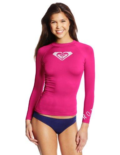 Roxy Womens Whole Hearted Long Sleeve Rash Guard Pink 12-XL