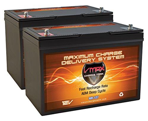 Qty 2 VMAX MR127-100 Two Group 27 12 Volt 100Ah AGM Deep Cycle Marine batteries for 24 Volt trolling motors 24V 100Ah AGM Battery Kit