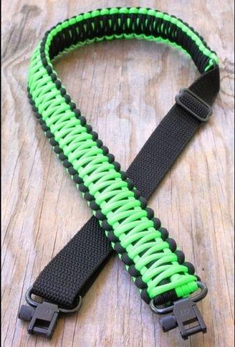 550 lb Paracord Survival 2 Point GunRifle Sling Black Fresh green
