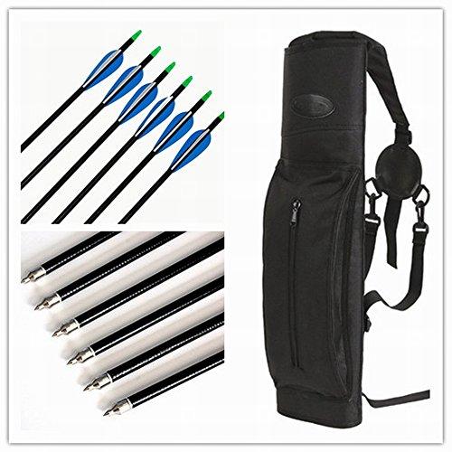 Dewel Set of 6 PCS Fiberglass Arrows  Archery Deluxe Back Quiver  3 Kinds of Diameters Arrows for Choice Oxford Cloth Arrow Case Black 76mm