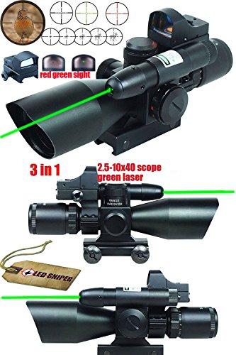 Ledsniper 3 in 1 Combo 25-10x40 Tactical Rifle Scope w green Laser Mini Reflex 3 MOA Red&green Dot Sight