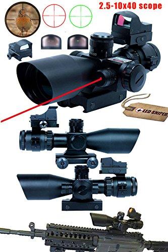 Ledsniper3 in 1 Super Useful 25-10x40 Tactical Rifle Scope w Red Laser Mini Reflex 3 MOA Red Dot Sight