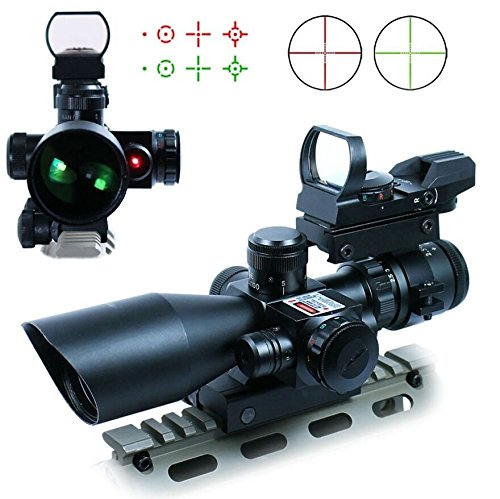 Tworld Rifle Scope 25-10x40 Rifle Scope Dual Illuminated Mil-dot with Sight Red Laser Rail Mount and 4 Reticle Red and Green Dot Open Reflex Sight with Weaver