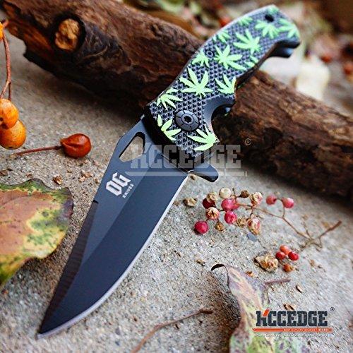 New 7 58 Green MARIJUANA LEAF Pattern Hunting TACTICAL FOLDER POCKET EcoGift - Limited Edition - Elite Knife with Sharp Blade Razor