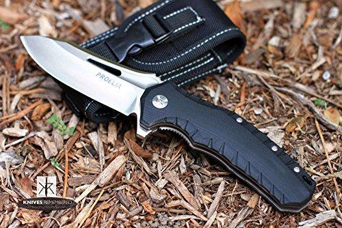 PROELIA KNIVES TACTICAL FOLDER 4 SATIN D2 DROP POINT BLADE BLACK G10 HANDLE