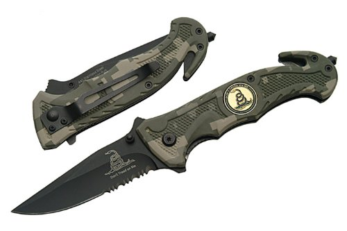 R-80-CA Trigger Assist 8 Tactical Knife Dont Tread On Me- Digi Camo Trigger Assisted Tactical Folder Dont Tread On Me Green Digital Camo 8 Drop-Point Blade Half-Serrated With Window Breaker and Seat Belt Cutter High Quality Rescue knife that is