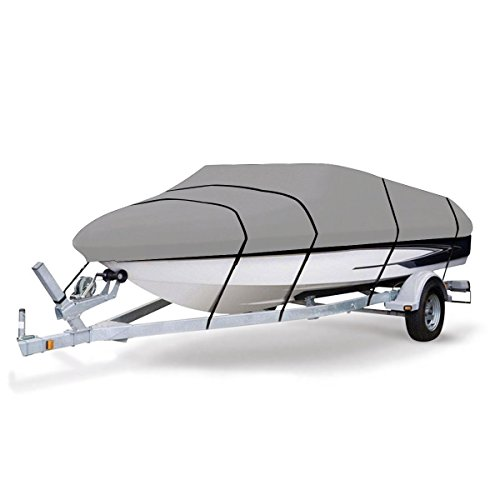 Goplus Waterproof Boat Cover Heavy Duty 600D Marine Grade Polyester Canvas Fits V-Hull Tri-Hull Runabout Boat Cover 17'-19' L Up to 116' W