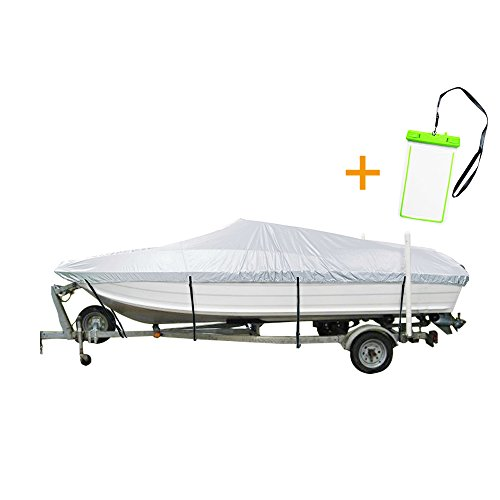 """NEXTCOVER Water Proof UV Reflective Marine Grade Boat Cover W free water proof phone case Fits V-HullTri-Hull Runabout Boat Fits boat up to 12'-14'Long and 68"""" WideSilver ColorNB24C42AA"""
