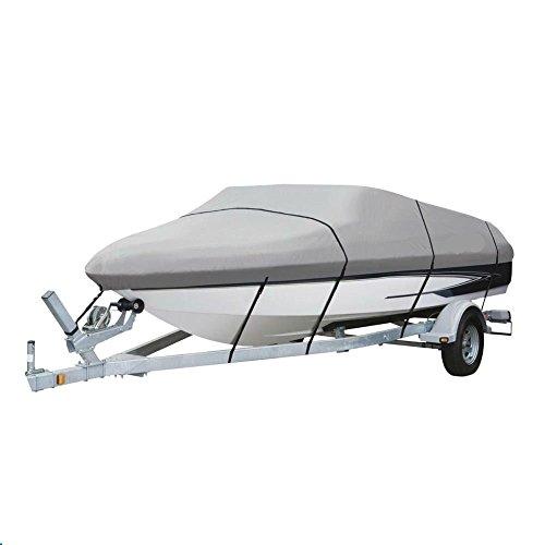 V-HULL 16 - 185 Foot WATERPROOF Boat Cover 600 Denier - Gray