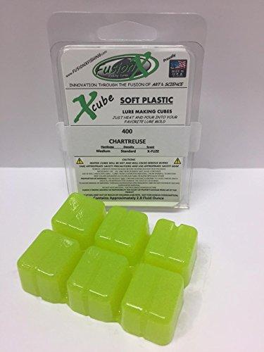 FUSION X FISHING - Xcube Soft Plastic Plastisol Fishing Lure Making Cubes - Single Pack 28 fl oz - Make your own soft plastic rubber fishing lures 400 - Chartreuse