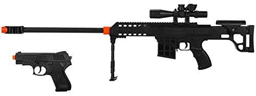 2-IN-1 MINI AIRSOFT BB SPRING SNIPER RIFLE GUN SIDE-ARM PISTOL - 12 SCALE -