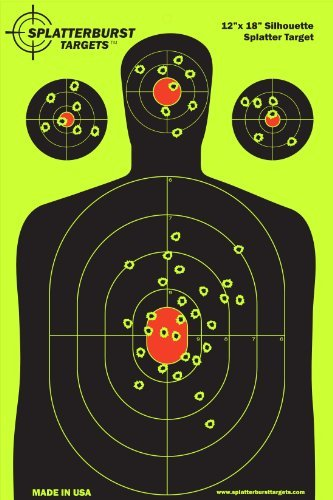 Splatterburst Targets - 12 x18 inch - Silhouette Reactive Shooting Target - Shots Burst Bright Fluorescent Yellow Upon Impact - Gun - Rifle - Pistol - AirSoft - BB Gun - Air Rifle 10 pack