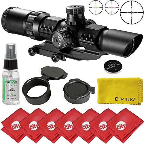 Barska 1-4x28 IR Hunting Mil-Dot Rifle Scope w Microfiber Clothes and Purosol Cleaner AC11872