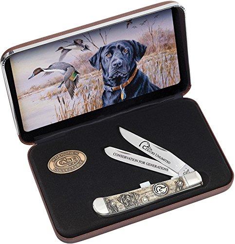 Case Natural Bone Ducks Unlimited Trapper Pocket Knife Gift Set