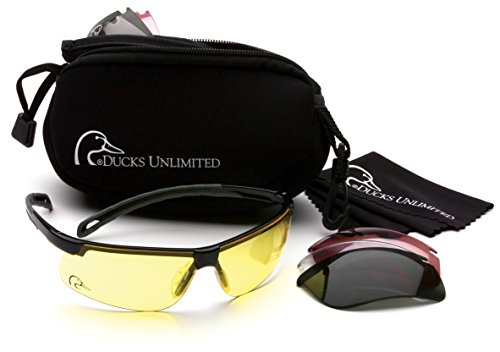 Ducks Unlimited Shooting Glasses Kit with 4 Interchangeable Lenses-Neoprene Storage Case Included