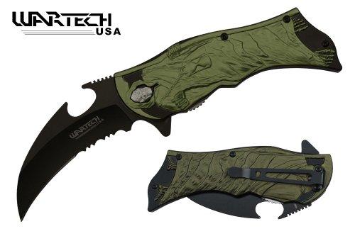 UNISHOWTM WARTECH 8 Assisted Open Folding Pocket Knife Black Blade Black Handle with Diablo Reaper Sickle Hook Sandglass Sandy Clock Design green