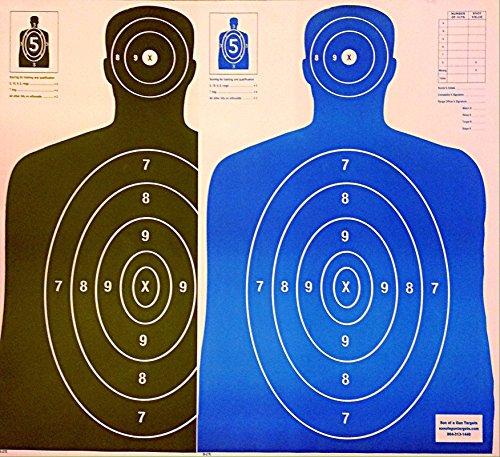 B27 Paper Shooting Targets Silhouette Gun Range Rifle Pistol 23x35 BlackBlue Qty100