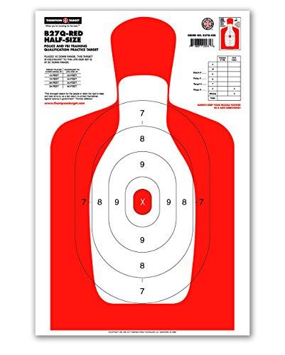 B27Q Half-Size Silhouette - Paper Gun Range Shooting Targets 125x19 25 pack Red