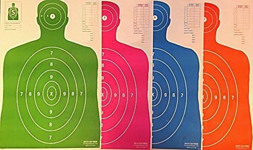 Paper Shooting Targets B27 Silhouette Gun Range Pistol Rifle 23x35 Four Color Combo Pack Qty100