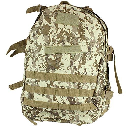 40 Liter Capacity Camo Backpack - Camouflage Combat Go Travel Bag by bogo Brands Desert Digital Camo