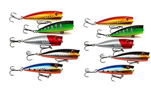 yueton Lot of 10pcs Fishing Topwater Floating Popper Poper Lure 65cm 26 9g Life-like Fishing Hooks