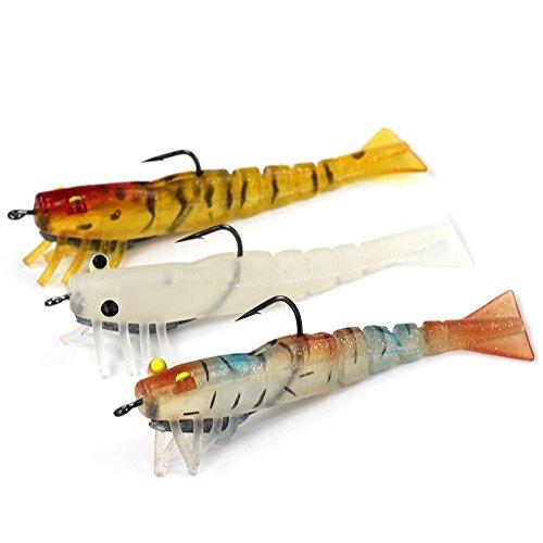 BlueSardine 3PCS 84G 95CM Soft Baits with Hook Fishing Lures Shrimp Soft Lures