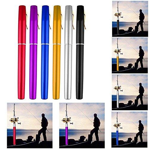 Generic Mini Portable Pocket Fish Pen Shape Aluminum Alloy Fishing Rod Pole Reel CombosFishing Rod Pen Shape Pole Fish Reel Line Soft Bait Hook Float TackleBlue