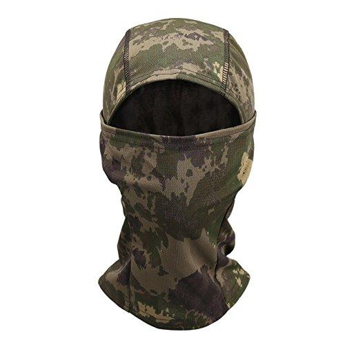 Camouflage Balaclava Face mask Hood Headwear hunting Ninja Outdoor Cycling Motorcycle Hunting Military Tactical Helmet liner Gear Full Face Mask Black Camo Woodland