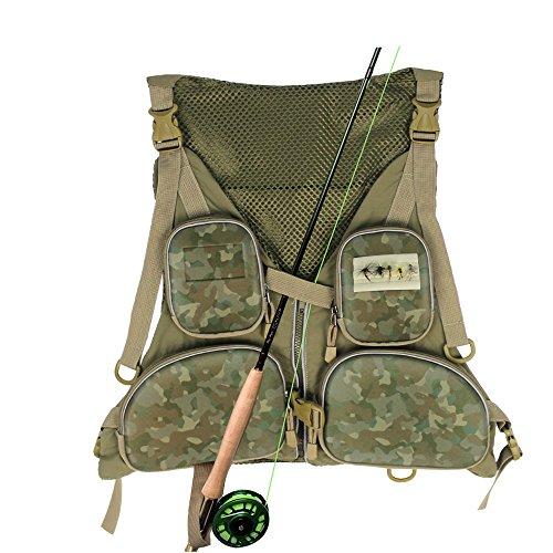 KyleBooker Fly Fishing Vest Pack Outdoor Multi-pocket Mesh Vest Fly Vest Adjustable Size Jacket