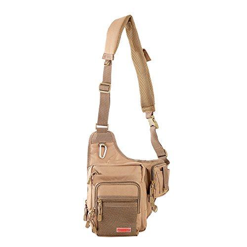 Noeby Sports Shoulder Bag Portable Tackle Storage Fishing Tackle Backpack Cross body Messenger Sling Bags