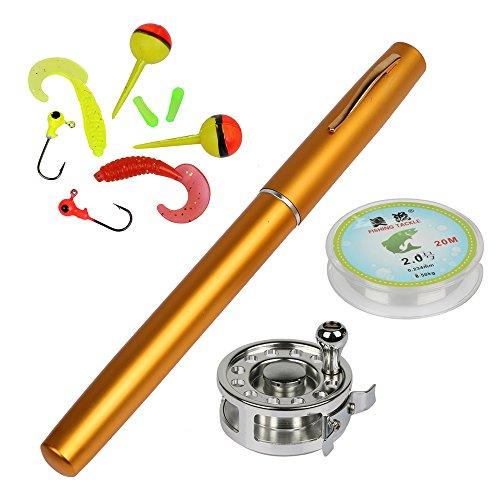 YOGAYET Mini Pocket Ice Fly Fishing Rod and Reel Combos Set Aluminum Alloy Pen Ice Fishing Pole 38 Sea Saltwater Freshwater Kit Golden