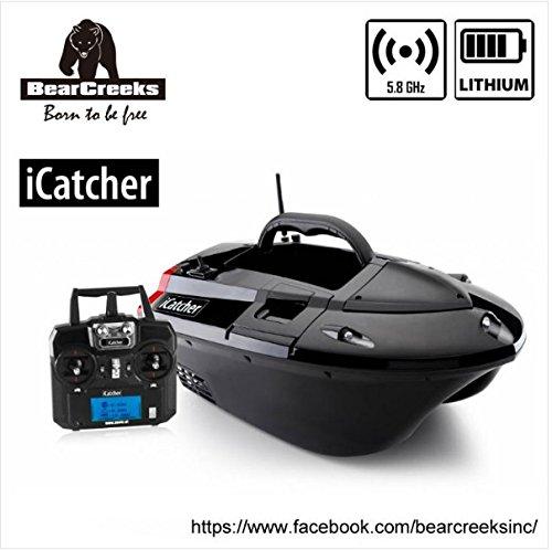 BearCreeks iCatcher Carp Fishing Bait Boat with BC151 Color Fishfinder and Optional GPS Autopilot Barco de cebo de pesca de carpa