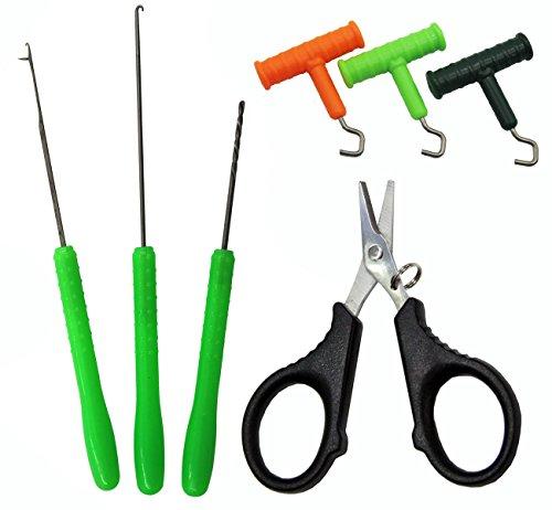 Carp Fishing Baiting Rig Tool Set Bait Needle Drill Puller Stringer and Driller Fishing Line Cutter Plier Scissors For Lures Bait Making