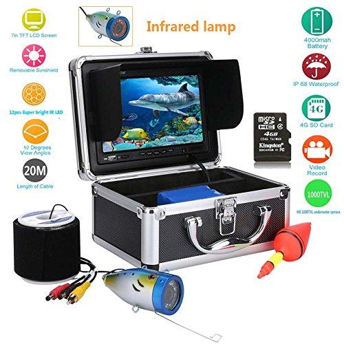 GAMWATER 20M 7 Color Digital LCD 1000TVL Fish Finder HD DVR Recorder Waterproof Fishing Video Underwater Fishing Camera