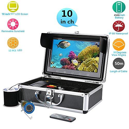 MAOTEWANG 10 Inch Color Monitor 50M 1000tvl Underwater Fishing Video Camera Kit 12 PCS LED Lights