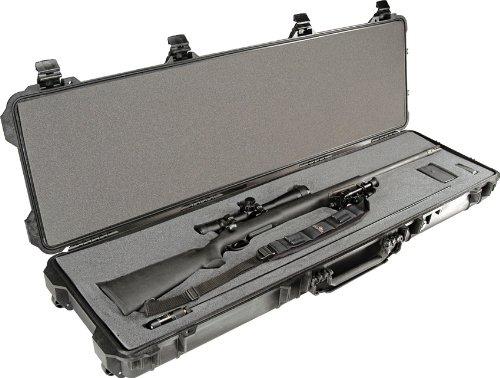 Pelican 1750 Long Rifle Gun Case with Foam 3-PCS FOAM SET Copolymer Rubber Polyurethane Stainless Steel ABS Plastic - Black