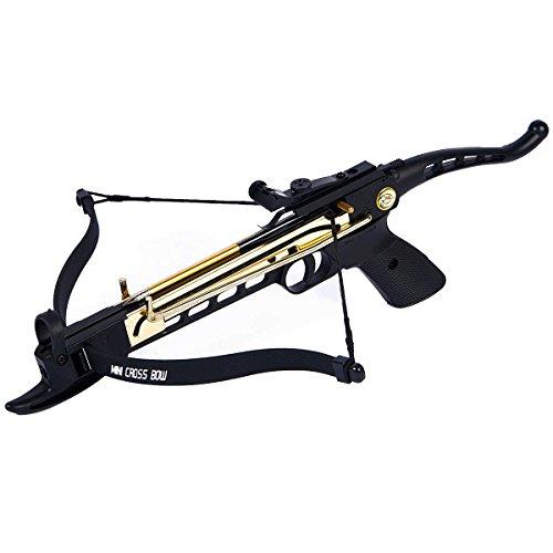 iGlow 80 lb Black Aluminum Self Cocking Hunting Pistol Crossbow Archery Bow 15 Bolts  Arrows 2 Strings 180 175 150 50