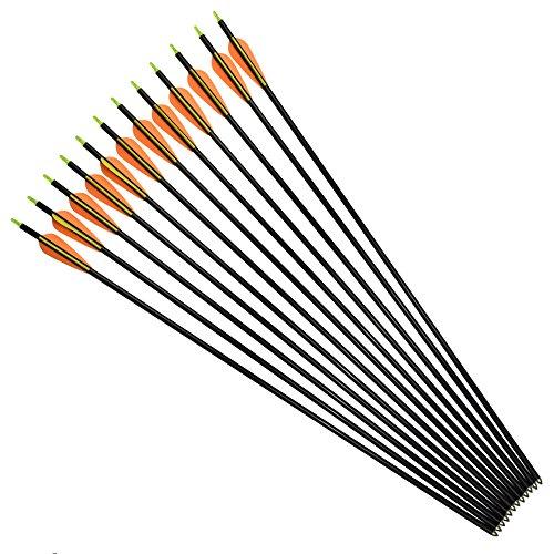 YLS 26 inch Archery Arrows Fiberglass Compound Bow Arrows Target Shooting Practice Youth Archery12pcs