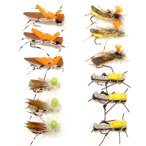 Trout Fly Assortment - Foam High Visibility Grasshopper Collection 5 1 Dozen Fly Fishing Flies