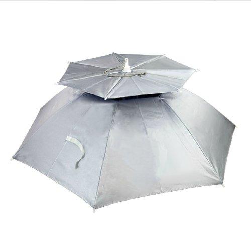 Creative SILVER Ventilate Hands Free Umbrella Hat For Fishing Golf Beach