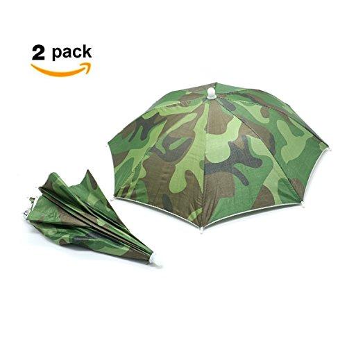 HUELE Elastic Headband Camouflage Pattern Sun Rain Umbrella Hat Cap for FishingOutdoor Activities