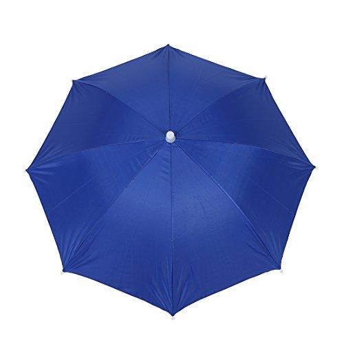 Sonline Fishing Elastic Headband Metal Frame Hands Free Nylon Umbrella Hat Blue