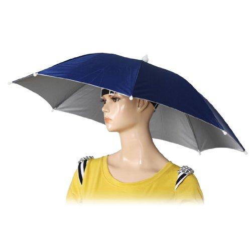 TOOGOOR 26 Diameter Elastic Band Fishing Headwear Umbrella Hat Dark Blue