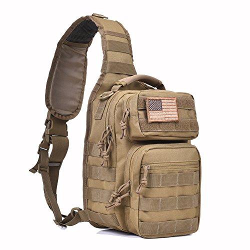 Tactical Sling Bag Pack Military Rover Shoulder Sling Backpack Molle Assault Range Bag Everyday Carry Diaper Bag Day Pack Small Tan