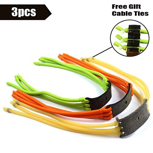 Slingshot Rubber Band High Velocity Catapult Anti-slip Latex for Slingshot Outdoor Hunting Yellow Green Orange Pack of 3