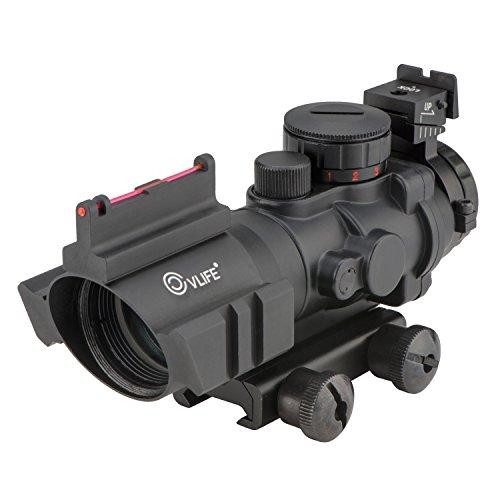 CVLIFE 4x32 Tactical Rifle Scope Red GreenBlue illuminated Reticle Scope with Fiber Optic Sight