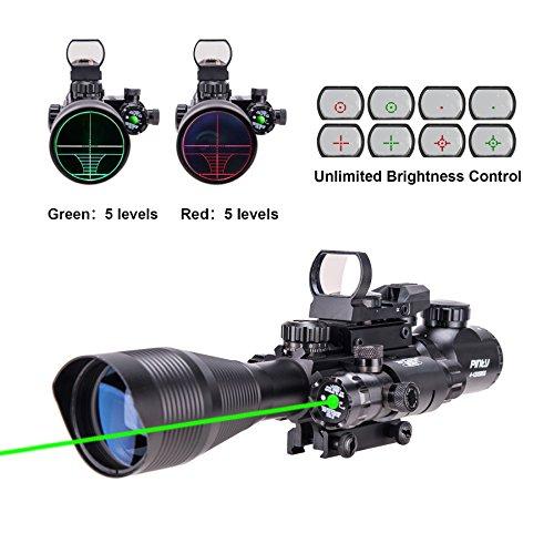 Pinty AR15 Rifle Scope 4-12x50EG Rangefinder Illuminated Optics with 4 Reticle Red&Green Reflex Sight Green Dot Laser Sight