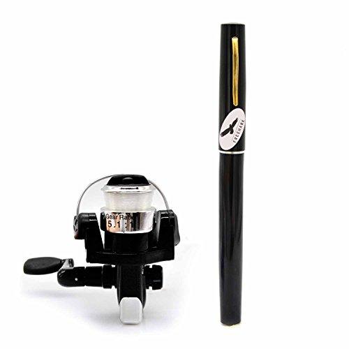 Freehawk Portable Telescopic Mini Pen Fishing Rod Mini Aluminum Pocket Pen Carbon Fiber Fishing Pole Travel Fishing Rod Pocket Sea Rods ISO Fishing Rods  2000 Spinning Fishing Reel Black